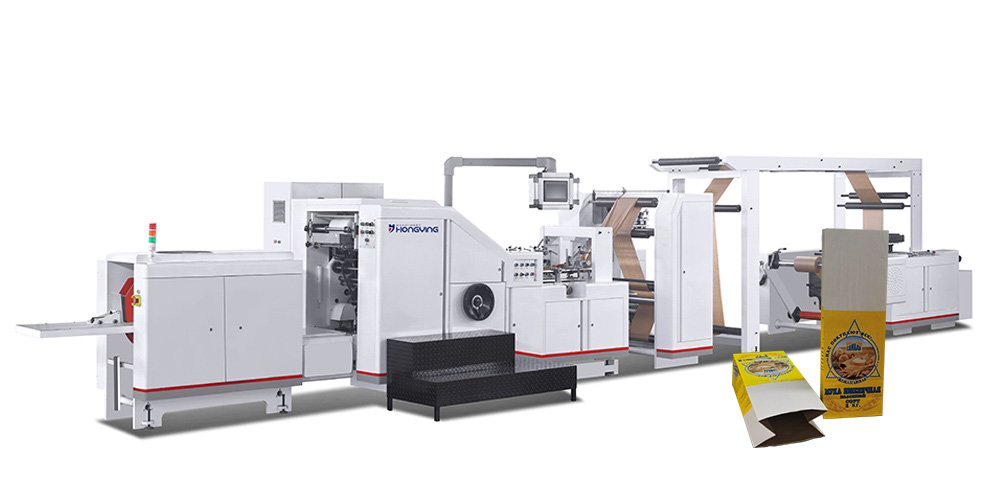 Double Layers Square Bottom Food Paper Bag Making Machine.